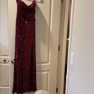 Lulu's Burgundy Sequin Strapless Dress